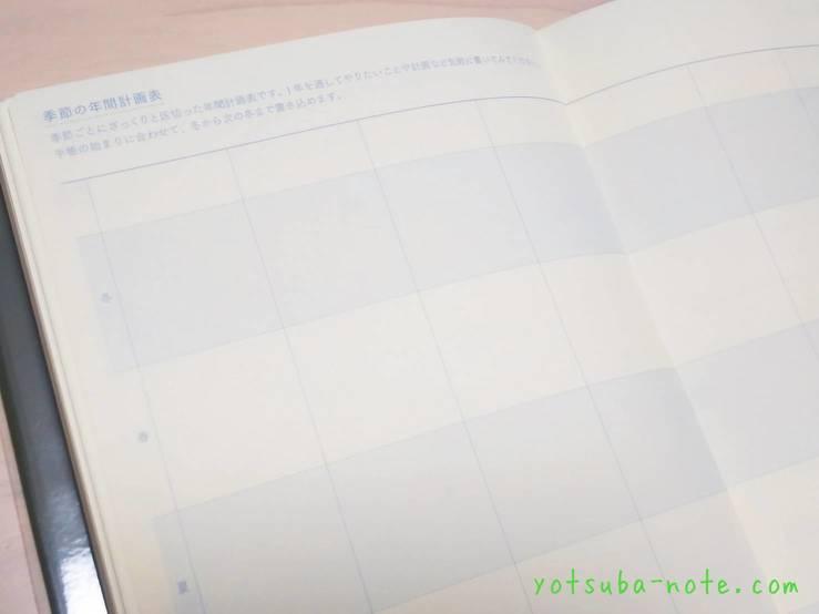 日の長さを感じる手帳の季節の年間計画表